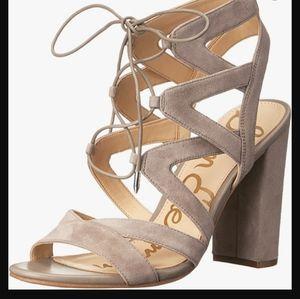 Sam Edelman Yardley Suede Lace Up Block Heel Sandals Size 9.5